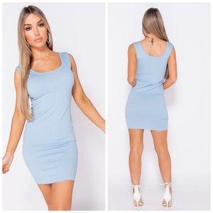 •Blue Streak• Rib Knit Mini Dress